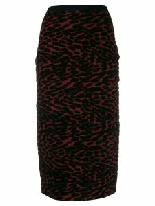 Diane von Furstenberg knitted leopard pencil skirt - Red