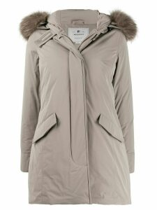 Woolrich fur-trimmed hooded zip-up coat - Neutrals