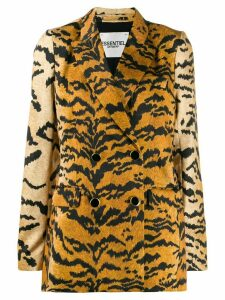 Essentiel Antwerp Travolta tiger-print blazer - Yellow