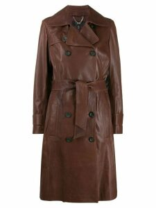 Arma double-breasted leather coat - Brown