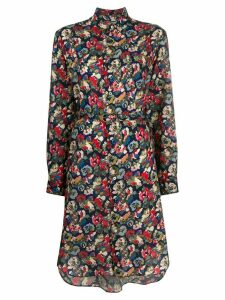 Junya Watanabe floral print shirt dress - Blue
