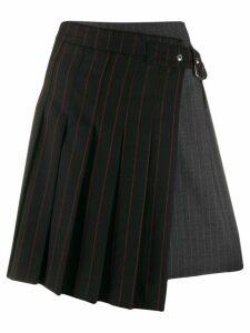 McQ Alexander McQueen pinstripe buckled skirt - Black