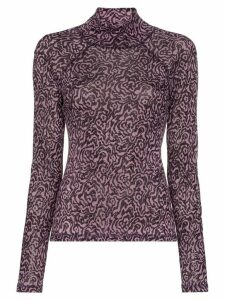 Nanushka animal intarsia knitted top - PURPLE