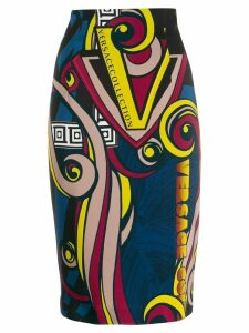 Versace Collection digital print pencil skirt - Blue