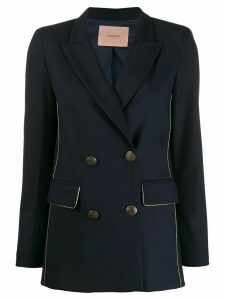 Twin-Set double-breasted piped blazer - Blue