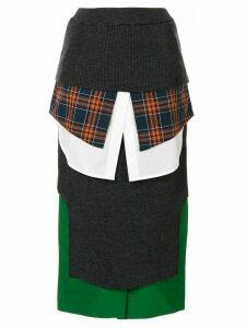 Enföld high-waisted panelled pencil skirt - Grey