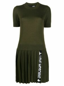 Love Moschino pleated knit dress - Green