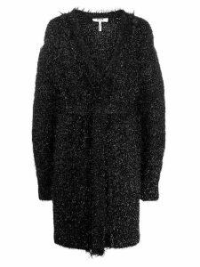 MSGM metallic finish long belted cardigan - Black