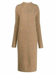 Jil Sander textured fitted long-sleeved dress - Brown