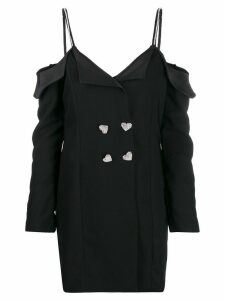 Silvia Astore embellished strap tuxedo dresss - Black