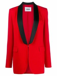 MSGM tuxedo style single-breasted blazer - Red