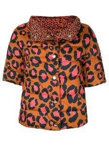 Herno cropped leopard print puffer jacket - Brown