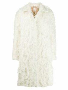 Nº21 textured midi coat - White