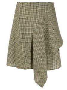 Chloé houndstooth check draped skirt - Brown
