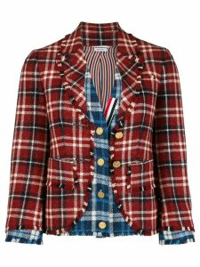 Thom Browne contrast check blazer - Red