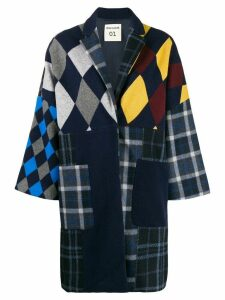 Semicouture oversized patchwork coat - Blue