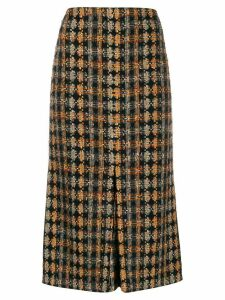 Victoria Beckham tweed pleated details midi skirt - Blue