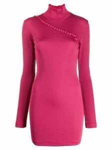 Rotate mock-neck button jumper dress - Pink