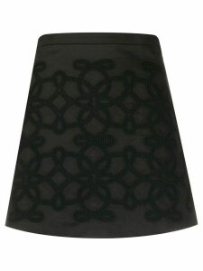 Wandering embroidered A-line skirt - Black