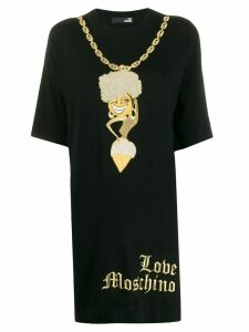 Love Moschino embroidered gold-chain dress - Black