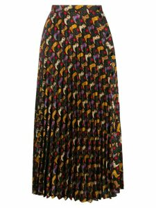 Sandro Paris patterned pleated midi skirt - Black