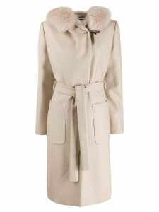 Fay fur hooded coat - Neutrals