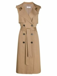 Peserico double-breasted trench gilet - Brown
