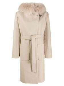 Fay fox fur hooded coat - Neutrals