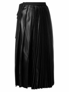 Sara Lanzi faux-leather pleated skirt - Black