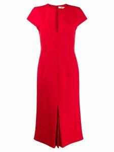 Victoria Beckham front pleat midi dress - Red
