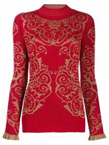 Fendi baroque print jumper - Red