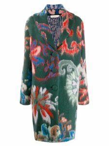 Tory Burch floral pattern mid-length coat - Green