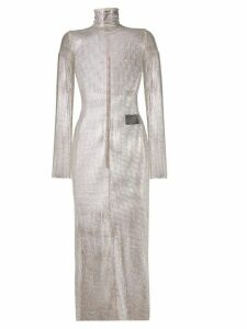 Alessandra Rich crystal mesh fitted dress - Neutrals
