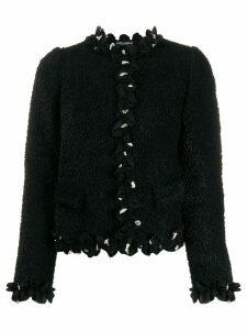 Dolce & Gabbana cropped ruffle trim jacket - Black