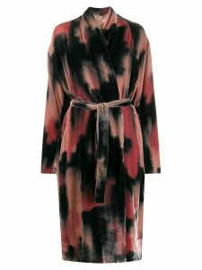 Masnada tie-dye print belted coat - Black