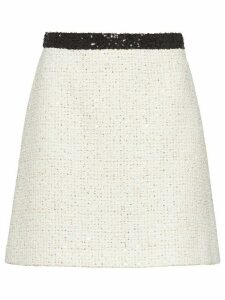 Miu Miu sequinned tweed skirt - White