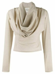 A.W.A.K.E. Mode draped neck fitted top - Neutrals