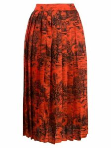 Victoria Victoria Beckham toile de jouy pleated midi skirt - Orange