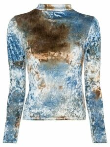 Collina Strada tie-dyed crushed-velvet top - Blue