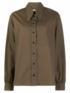 Lemaire boxy fit oversized collar shirt - Brown