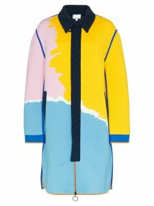 i-am-chen colour-block ribbed-knit coat - Blue
