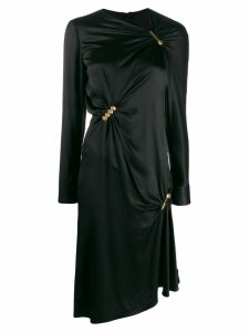 Versace pin clip draped midi dress - Black