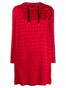 Love Moschino logo jacquard hoodie dress - Red