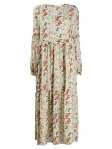 Semicouture long floral panelled dress - NEUTRALS