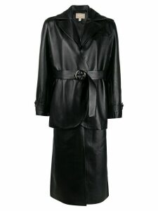 Matériel layered belted coat - Black