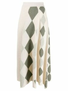 Pringle of Scotland graphic argyle panel skirt - Neutrals