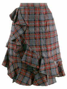 Julien David ruffle trim plaid skirt - Grey