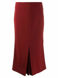 Victoria Beckham pleat-detail fitted midi-skirt - Red
