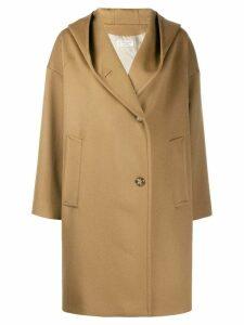 Alberto Biani woven hooded coat - NEUTRALS