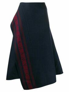 Victoria Beckham logo-stripe asymmetric midi-skirt - Blue